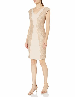 Jax Women's Extended Sleeve Stretch Crepe Inset Side and Full Lace Back