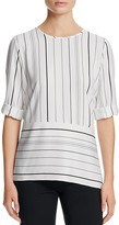 Calvin Klein Striped Angled Hem Top