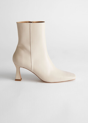 And other stories Leather Flared Heel Ankle Boots