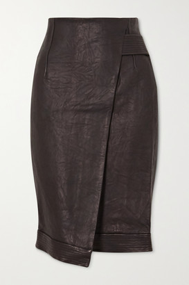 Veronica Beard Delilah Asymmetric Wrap-effect Leather Skirt