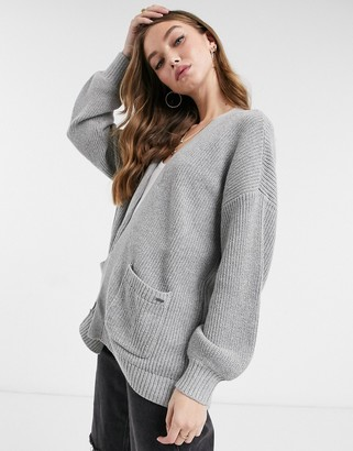 Hollister longline cardigan in light grey