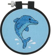 """Dimensions Learn-A-Craft Dolphin Delight Stamped Cross Stitch Kit-3"""" Round"""