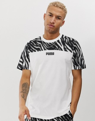 Puma Wild Pack t-shirt in colour block-White