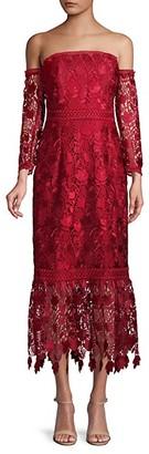 Shoshanna Floral Lace Bandeau-Style Gown