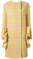 Marni ruffle checked coat