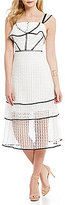 Gianni Bini Sophie Crepe Eyelet Tiered Square Neck Midi Dress