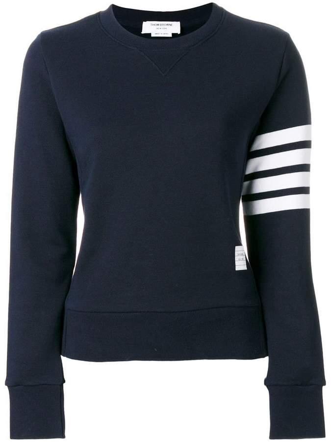 Thom Browne Womens Pullover Sweatshirt With Engineered 4-Bar Stripe