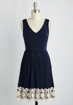 YELLOW STAR Personal Essayist A-Line Dress in Navy