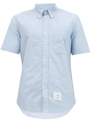 Thom Browne Tricolour Button-down Collar Cotton-oxford Shirt - Light Blue