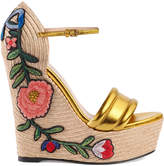 Gucci Embroidered metallic leather platform espadrilles