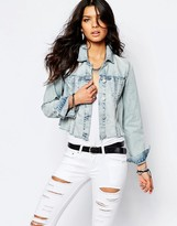 Blank NYC Cropped Denim Jacket With Raw Hem