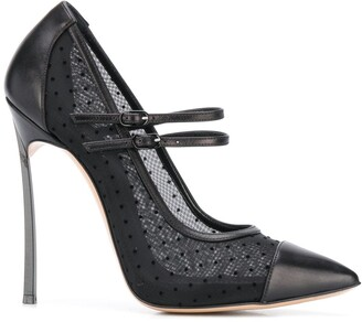 Casadei point d'Esprit buckled pumps