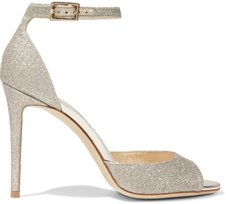 Jimmy Choo Annie 100 Crystal-embellished Glittered Woven Sandals