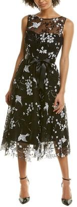 Teri Jon Embroidered A-Line Dress