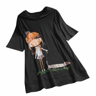 Skang T-Shirt for Women's Ladies Casual Fashion Cartoon Little Girl Dog Print Cotton Blend Comfort Loose Hooded Short Sleeve XL Tops T-Shirt Shirt Tunic Tops S-XXXXL Black