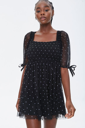 Forever 21 Polka Dot Mesh Mini Dress