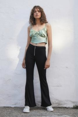Another Reason Zip Front Stretch Flared Trousers - Black XS at Urban Outfitters