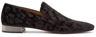 Christian Louboutin Captain Colonnaki Leopard-jacquard Velvet Loafers - Mens - Black