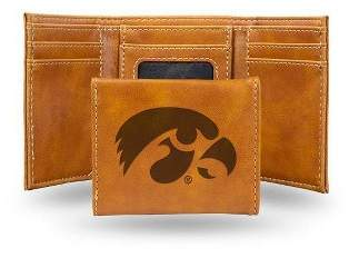 NCAA Iowa Hawkeyes Laser Engraved Brown Leather Trifold Wallet