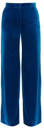 Bella Freud Kim Cotton-velvet Wide-leg Trousers - Blue