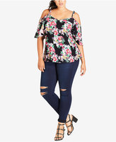 City Chic Trendy Plus Size Off-The-Shoulder Printed Top