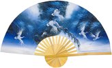 Oriental Furniture Unique Gifts for Girl Woman Lady, 40-Inch Painted Thai Silk and Bamboo Decorative Wall Fan