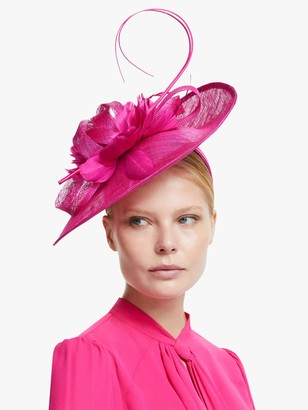 John Lewis & Partners Riley Loop and Flowers Disc Occasion Hat, Fuchsia