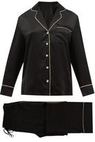Fleur of England Signature Piped Silk-satin Pyjamas - Womens - Black