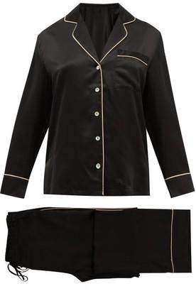 Fleur of England Signature Piped Silk-satin Pyjamas - Black