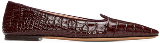 Brock Collection Burgundy Croc Pointed Flats