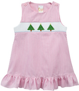 Pink Xmas Tree Smocked Jumper - Infant, Toddler & Girls