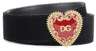 Dolce & Gabbana Embellished velvet belt