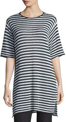 Eileen Fisher Half-Sleeve Striped Organic-Linen Sweater, Graphite/White