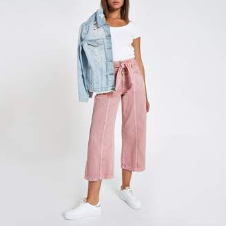 River Island Womens Pink belted denim culottes