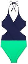 Tory Burch Color-Block Wrap One-Piece