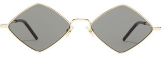 Saint Laurent Lisa Diamond-frame Metal Sunglasses - Gold Multi