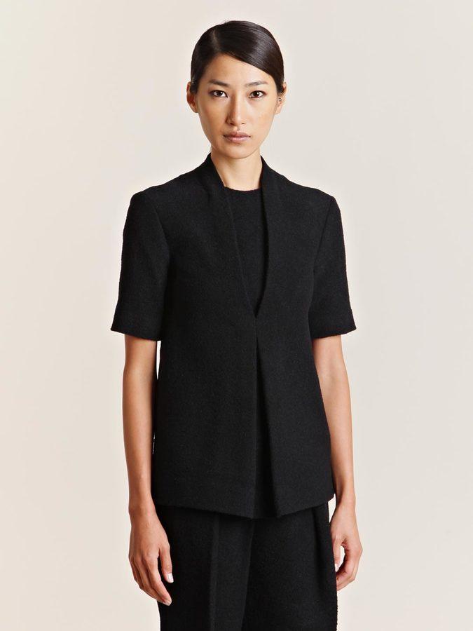 mento Women's Boucle Wool Short Sleeve Top
