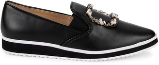 Karl Lagerfeld Paris Kalana Faux Pearl-Embellished Leather Loafers