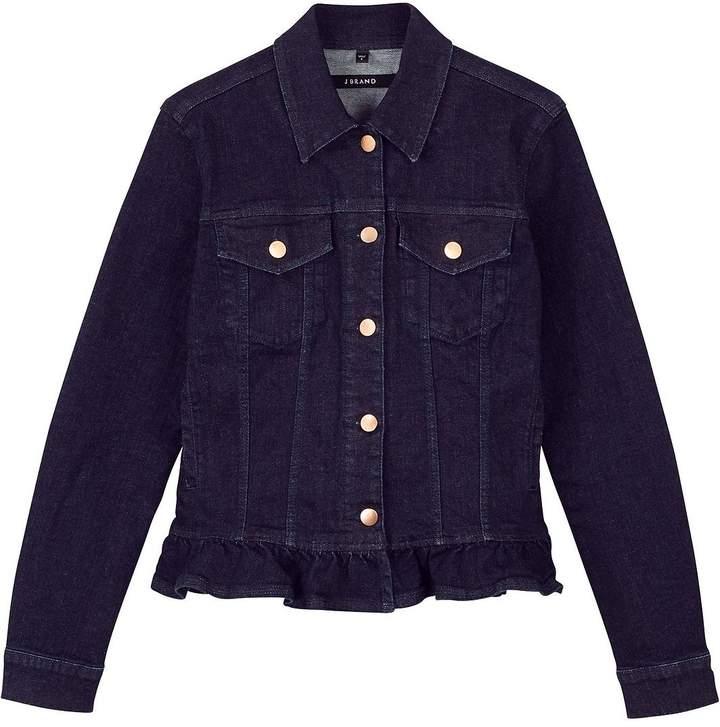 J Brand Frill Hem Slim Denim Jacket -Dark blue