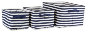 Design Imports Polyethylene Coated Herringbone Woven Cotton Laundry Bin Stripe French Rectangle Set of 3