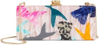 Edie Parker Medium Monstera Madness Slim Acrylic Box Clutch