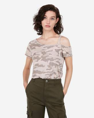 Express Burnout Camo One Shoulder Tee