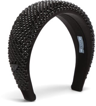 Prada Studded Satin Headband - Black