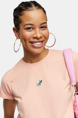 Topshop Womens Neon Apricot Gekko T-Shirt - Apricot