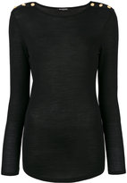 Balmain Turtle-neck Wool And Silk Sweater With Gold Buttons