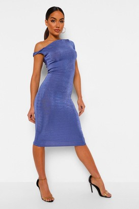 boohoo Off Shoulder Textured Slinky Midi Dress
