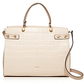 Furla Lady Medium Croc-Embossed Leather Tote