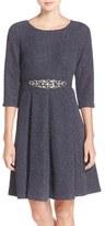 Eliza J Women's Embellished Sparkle Knit Fit & Flare Dress