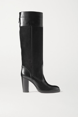 Chloé Emma Leather And Suede Knee Boots - Black