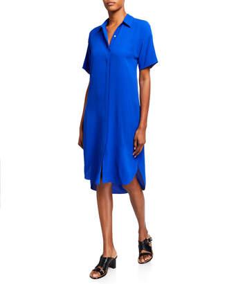 Eileen Fisher Silk Crepe Short-Sleeve Collared Shirtdress